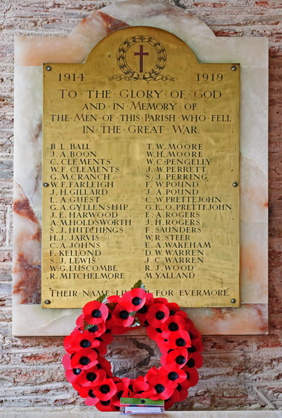 The 1914 - 1918  War Memorial in Stokenham Church